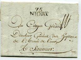 DEUX SEVRES De NIORT LAC Du 24/11/1795 Linéaire 26x11 Taxée 10 Pour SAUMUR - Postmark Collection (Covers)