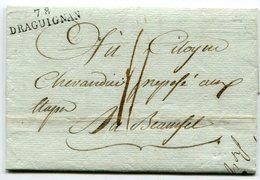 VAR De DRAGUIGNAN LAC Du 07/05/1794 Linéaire 34x9 Taxée 4 - Marcophilie (Lettres)