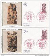 L4K233 FRANCE 1980  Croix Rouge FDC Stalles D'Amiens 11,40+0,30 1,20+0,30f Amiens 08 12 1980/2 Env.  Illust. - FDC
