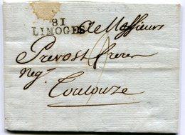 HAUTE VIENNE De LIMOGES LAC Du 26/08/1792 Linéaire 33x10 Taxée 9 Pour TOULOUSE - Marcophilie (Lettres)