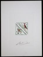Mauritanie T40/1 Epreuve D'artiste Signé Multicolore.Mauritania Artist Signed Die Proof. Bird, Oiseaux, Fauna - Moineaux