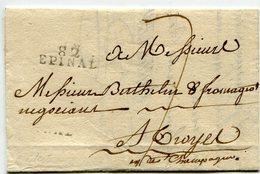 VOSGES De EPINAL LAC Du 29/08/1797 Linéaire 24x8 Taxée 7 Pour TROYES - Marcophilie (Lettres)