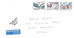 FRANCIA LETTERA X ITALIA CON FRANC.UNESCO 1976 E FRANC.EUROPA 1989 - Francia