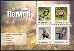 AUSTRIA, 2018, MNH,LOCAL WILDLIFE, BIRDS, DUCKS, RODENTS,GOATS, PERSONALIZED SHEETLET - Ducks