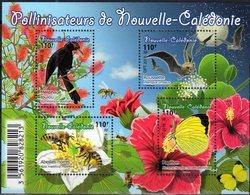 NEW CALEDONIA, 2018, MNH, POLLINATORS, BIRDS, BATS, BEES, BUTTERFLIES, FLOWERS, SHEETLET - Birds
