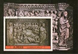 "Ajman 1972 Bf. ""Natività"" Bassorilievo N. Pisano Pulpito Duomo Di Siena  Sheet CTO Perf. - Ajman"