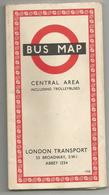 LONDON TRANSPORTS1958 : BUS MAP , CENTRAL AREA INCLUDING TROLLEYBUSES - Cartes Routières