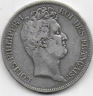 5 Fr  Louis Philippe I - 1831 A - Tranche En Creux - France