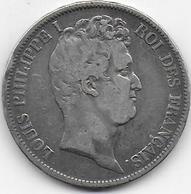 5 Fr  Louis Philippe I - 1831 B - Tranche En Relief - France