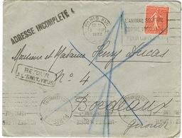 COURRIER RETOURNE POUR DEFAUT D'ADRESSE MULTIPLES CACHETS ET TAMPONS - 1921-1960: Période Moderne