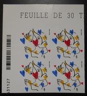 Timbre Autoadhésif  Saint-Valentin Coeur 2015 Maison De Couture De Castelbajac 0,68  Bloc De 4  Coin De Feuille - France