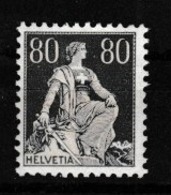 SUISSE 1933:   Helvétie à L'épée  80c Gris (ZNr 141z), Neuf ** - Schweiz