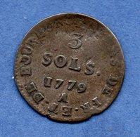 Colonies -  3 Sols 1779 A  -  Légèrement Voilée --  Sinon TB  -  Rare - Colonies