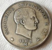 RÉPLICA Moneda Milán, Italia. Emperador Napoleón. 5 Liras. 1808 - Monnaies Transitoires