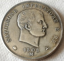 RÉPLICA Moneda Milán, Italia. Emperador Napoleón. 5 Liras. 1808 - Temporary Coins
