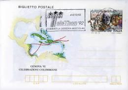 1992 BIGLIETTO POSTALE 700 L GENOVA  COLOMBO ANN SPEC NUORO TELETHON - Stamped Stationery