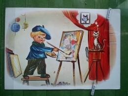 KOV 8-103 - New Year, Bonne Annee, Children, Enfants,cat, Chat, Painter, Peintre - Nouvel An