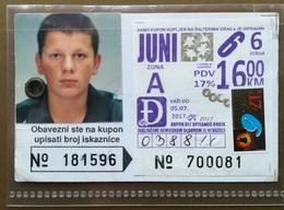 BOSNIA AND HERZEGOVINA Male Annual Public Transport Ticket For High School Disciple - Season Ticket