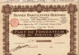 75-BENNES BASCULANTES BERNARD. Part De Fondateur - Other