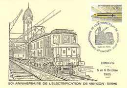 18 ☺♦♦ VIERZON - ELECTRIFICATION LIGNE De CHEMIN De FER Vers BRIVE En 1985 - TRAIN 2D2 5516 En GARE De LIMOGES - BAHN - Vierzon