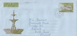 Barbados 1985 Spotted Moray Gymnothorax Isingteena FDC Aerogramme - Barbades (1966-...)