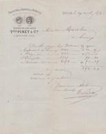 Facture Illustrée 29/4/1878 PINET LOUET Filature Draperie QUILLAN Aude à Marot Limoux - France