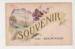 26630 RENNES France 35 Souvenir De Rennes Dessin Fleur Pensee -ed MGA 721 - Rennes