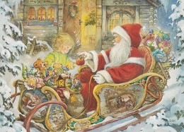 Santa Claus Is Bringing Toys With Christmas Sleigh - Giving And Apple To Little Girl - Lisi Martin - Santa Claus