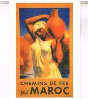 PUBLICITE CHEMINS  DE FER  DU MAROC CPM  TBE MA19 - Maroc
