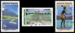 POLYNESIE 1991 - Yv. 390 391 392 Obl.   Cote= 3,20 EUR - La Pêche Aux Cailloux (3 Val.)  ..Réf.POL23502 - Polynésie Française