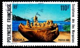 POLYNESIE 1991 - Yv. 388 Obl.  - Sculpture Kooka Des Iles Marquises  ..Réf.POL23503 - Polynésie Française