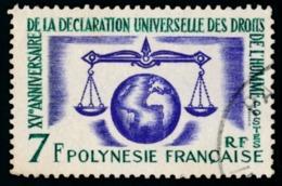 POLYNESIE 1963 - Yv. 25 Obl.   Cote= 11,00 EUR - Déclaration Des Droits De L'Homme  ..Réf.POL23510 - Polynésie Française