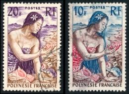 POLYNESIE 1958 - Yv. 9 Et 11 Obl.   Cote= 9,00 EUR - Jeune Fille Au Coquillage (2 Val.)  ..Réf.POL23514 - Polynésie Française