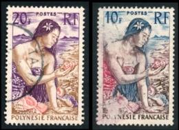 POLYNESIE 1958 - Yv. 9 Et 11 Obl.   Cote= 9,00 EUR - Jeune Fille Au Coquillage (2 Val.)  ..Réf.POL23515 - Polynésie Française