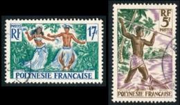 POLYNESIE 1958 - Yv. 6 Et 10 Obl.   Cote= 4,80 EUR - Pêcheur Au Harpon Et Danseurs Tahitiens  ..Réf.POL23516 - Polynésie Française