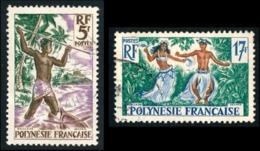 POLYNESIE 1958 - Yv. 6 Et 10 Obl.   Cote= 4,80 EUR - Pêcheur Au Harpon Et Danseurs Tahitiens  ..Réf.POL23517 - Polynésie Française