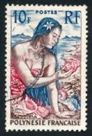POLYNESIE 1958 - Yv. 9 Obl.   Cote= 3,00 EUR - Jeune Fille Au Coquillage  ..Réf.POL23518 - Polynésie Française