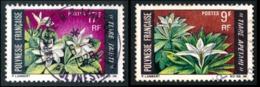 POLYNESIE 1969 - Yv. 64 Et 65 Obl.   Cote= 3,45 EUR - Fleurs: Tiare Apetai Et Tahiti (2 Val.)  ..Réf.POL23521 - Polynésie Française