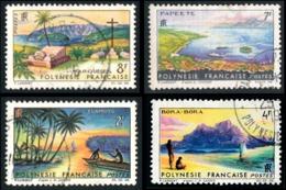POLYNESIE 1964 - Yv. 30 31 32 33 Obl.   Cote= 6,40 EUR - Paysages De Polynésie Française (4 Val.)  ..Réf.POL23524 - Polynésie Française