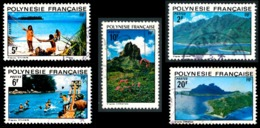 POLYNESIE 1974 - Yv. 97 98 99 100 102 Obl.   Cote= 7,00 EUR - Paysages (5 Val.)  ..Réf.POL23529 - Usati