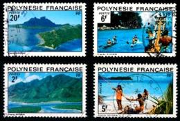 POLYNESIE 1974 - Yv. 97 98 99 102 Obl.   Cote= 5,40 EUR - Paysages (4 Val.)  ..Réf.POL23530 - Polynésie Française