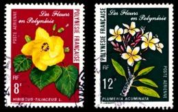 POLYNESIE 1977 - Yv. PA 126 Et 127 Obl.  - Fleurs Hibiscus Et Plumeria  ..Réf.POL23533 - Poste Aérienne