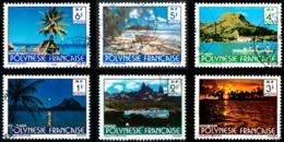 POLYNESIE 1979 - Yv. 132 à 137 Obl.  - Paysages [Sign. DELRIEU] (6 Val.)  ..Réf.POL23534 - Polynésie Française