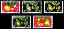 POLYNESIE 1977 - Yv. Service 8 9 10 11 14 Obl.   Cote= 11,35 EUR - Fruits (5 Val.)  ..Réf.POL23535 - Service