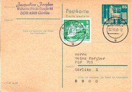 """DDR Amtl.Ganzsache P80 ZF WSt. """"Alexanderplatz, 25Pf.grünlichblau"""", TSt. 2.10.1990 GÖRLITZ 3 (Letzttag !!) - Postcards - Used"""