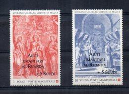 S.M.O.M.- 1994 - Tipi Del 1993 Sovrastampati  Aiuti Umanitari Al Ruanda - 2 Valori - Nuovi - (FDC13867) - Malte (Ordre De)