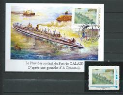 CP Sous Marin  PLUVIOSE - Cachet CALAIS PHILATELIE 06/05/10 Sur Montimbramoi  (cadre Or) +1 Timbre Neuf ( Cadre Bleu) - Storia Postale
