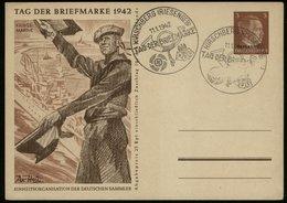 P0012 - Propaganda , DR Ostland GS Postkarte Tag Der Briefmarke ,Marine: Gebraucht Mit Sonderstempel Hirschberg Riesen - Deutschland