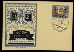 3. Reich - DR Postkarte Tag Der Briefmarke: Gebraucht Mit Sonderstempel Tag Der Briefmarke Wien 1943 - Deutschland