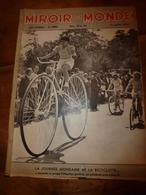 1937 LE MIROIR DU MONDE :La Journée Mondaine De La Bicyclette ;Expo Peinture-sculpture;Les Jeunes Filles Et L'amour ;etc - Books, Magazines, Comics